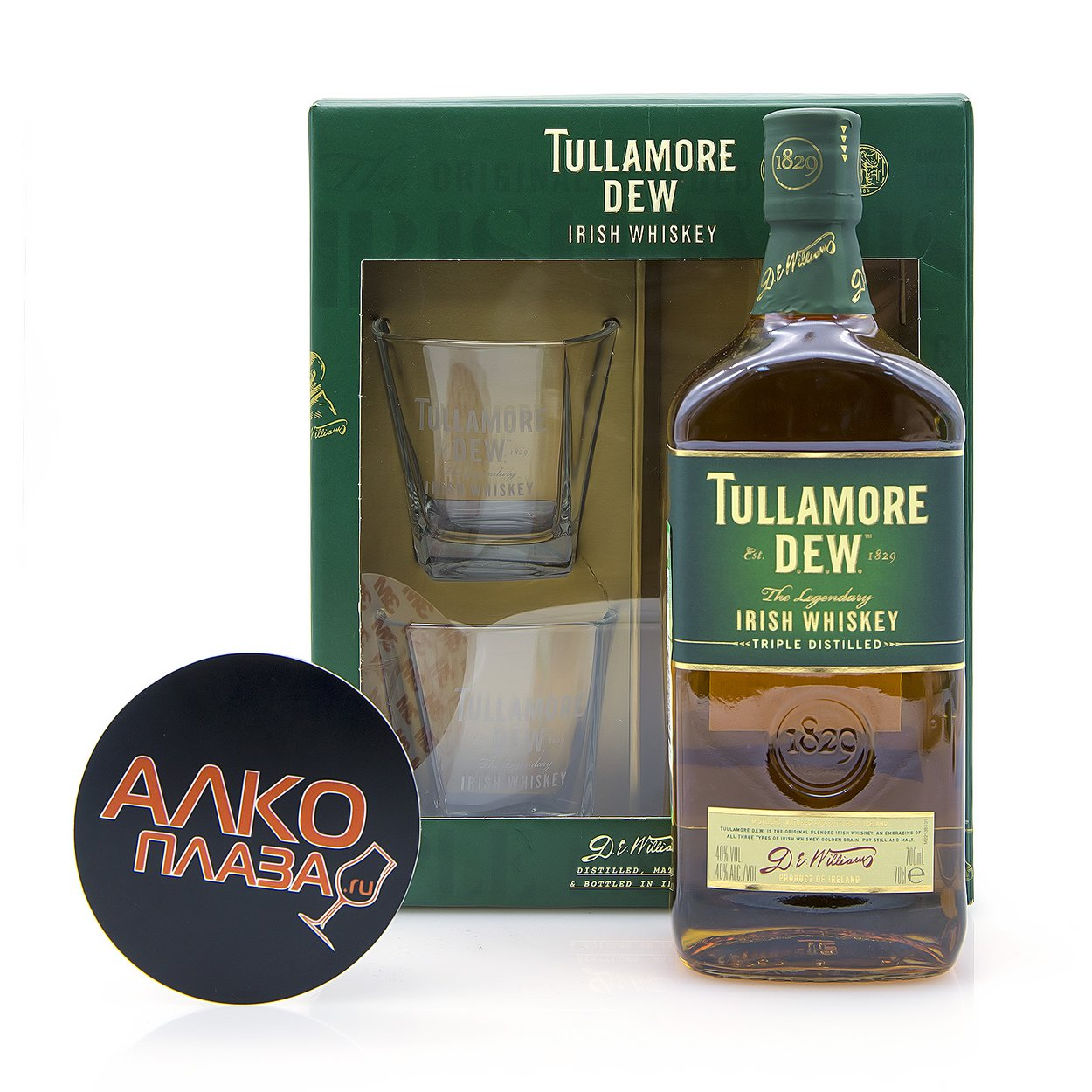 Tullamore Dew with 2 glasses - виски Талламор Дью с двумя стаканами 0.7 л