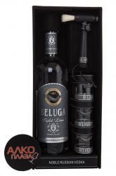 Beluga Gold Line 0.75 водка Белуга Золотая Линия с кисточкой в п/у + 3 стакана