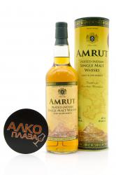 Whisky Amrut Peated Indian Single Malt 0.7l in tube виски Амрут Питед Индиан Сингл Молт 0.7л в тубе