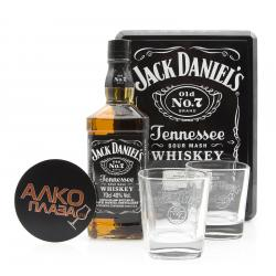 Jack Daniels with 2 glasses in metal box виски Джек Дэниэлс с 2 стаканами в мет. коробке