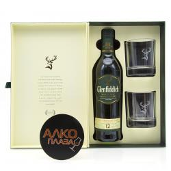 Glenfiddich 12 years old with glasses - виски Гленфиддик 12 лет 0.75 л в наборе со стаканами